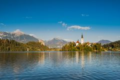Fall colors at Bled lake in Slovenia.  stock photo