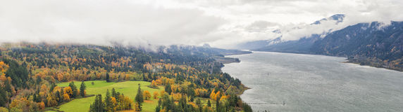 Fall Colors at Columbia River Gorge Panorama Royalty Free Stock Images