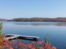 Fall colors in cottage country. Lake with autumn leaves and dock stock photography