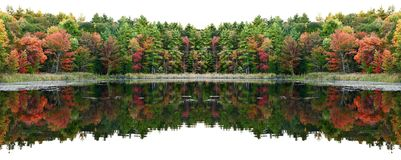 Fall Colors double reflection banner Stock Images