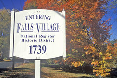 Fall colors in Falls Village along scenic highway, U.S. Route 7, Connecticut Royalty Free Stock Images