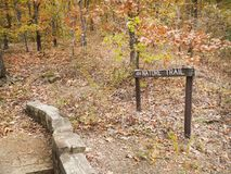Nature Trail in an autumn forest, sign, rustic walkway Stock Image