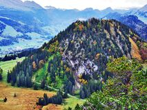 Fall colors in forests of Alpstein mountain range and Thur River valley royalty free stock image