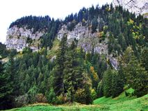 Fall colors in forests of Alpstein mountain range and Thur River valley. Canton St. Gallen, Switzerland royalty free stock photo