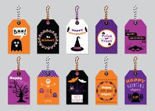 Fall colors Happy Halloween gift tags set on trendy gray background. With cute cartoon icons, dotted patterns and message emblems vector illustration