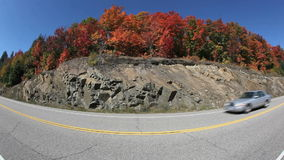 Fall Colors Highway Fisheye stock video