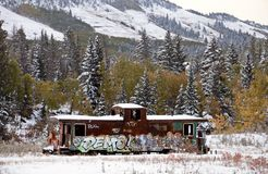 Fall Colors Kananaskis. Abandoned Train Car snowfall Aberta royalty free stock images