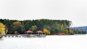 Fall Colors in lake front. Fall Colors at its peak in Arkansas royalty free stock photography