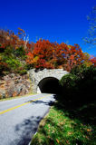 Fall Colors and Mountain Tunnel. Mountain tunnel along the Blue Ridge Parkway with beautiful fall colors Royalty Free Stock Image
