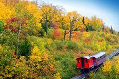 Fall colors of New Hampshire with Train. Beautiful fall colors of New England United States royalty free stock photography