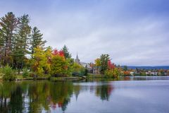 Fall colors in North America. A view of the brilliant and eclectic colors that take over the entire Adirondacks region in New York state of USA during the peak stock photo