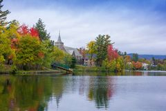 Fall colors in North America. A view of the brilliant and eclectic colors that take over the entire Adirondacks region in New York state of USA during the peak stock photos