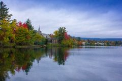 Fall colors in North America. A view of the brilliant and eclectic colors that take over the entire Adirondacks region in New York state of USA during the peak stock images