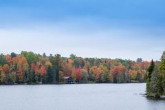 Fall colors in North America. A view of the brilliant and eclectic colors that take over the entire Adirondacks region in New York state of USA during the peak stock photography