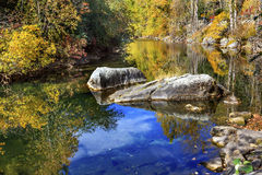 Fall Colors Orange Blue Reflection Wenatchee River Washington Royalty Free Stock Image