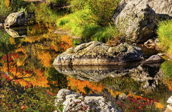 Fall Colors Orange Fire Reflection Wenatchee River Washington Royalty Free Stock Photo