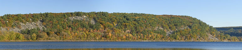 Fall Colors Panorama. At Devils Lake State Park in Wisconsin royalty free stock photos