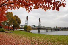 Fall Colors at Portland Oregon Downtown Waterfront. By Hawthorne Bridge royalty free stock photo
