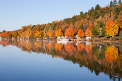 Fall Colors Reflected in a Calm Lake. Brilliant fall colors reflected in a smooth, calm lake.  Photographed in morning light Stock Photography