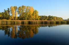 Fall Colors Reflected on a Lake Stock Images