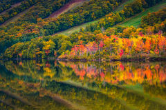 Fall colors reflecting in Echo Lake, in Franconia Notch State Pa Stock Image