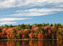 Fall colors reflecting on a pond. A new england lake reflecting the fall colors Stock Images