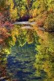 Fall Colors Reflection Wenatchee River Washington Stock Photo