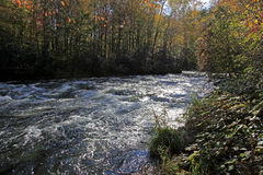 Fall colors and the river running along the Blue Ridge Parkway Stock Images