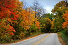 Fall Road. Gorgeous display of fall colors, leaves, red, orange, green & yellow trees with a black top road leading your eye through the picture.  This photo Stock Photography