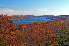 Fall Colors on a Midwest River stock image