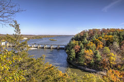 Fall Colors. At Starved Rock elevate with river view Royalty Free Stock Image