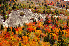 Fall colors surround a rock cliff on The BlueRidge Parkway. Stock Photo