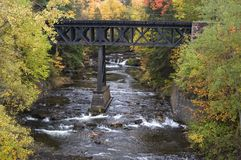 Fall Colors, Waterfall, Railroad Bridge, Landscape royalty free stock image