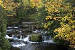 Fall Colors, Waterfall, Scenic Landscape. Waterfall in upper Michigan during the autumn with the fall colors stock images