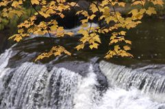 Fall Colors, Waterfall, Scenic Landscape. Waterfall in upper Michigan during the autumn with the fall colors stock photography