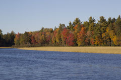 Fall Colors on Wisconsin River Stock Photo