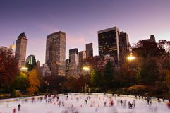 Fall colors at Woolman Rink in Central Park. New York City Stock Image