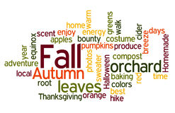 Fall Colors Wordcloud. Fall Autumn Word Cloud in Red Orange Yellow and Green Royalty Free Stock Images