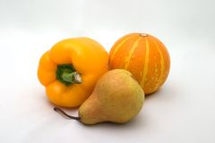 Fall colors - yellow vegetables. Yellow autumn vegetables Stock Images