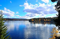 Water, sky and fall colours Stock Image