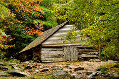 Fall comes to a valley in the Great Smoky Mountains. Royalty Free Stock Images