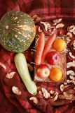 Fall composition for thanksgiving day with corn,apple,mushrooms and pumpkin. Fall composition for thanksgiving day with corn,apple,mushrooms and pumpkin stock photo