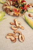 Fall composition for thanksgiving day with corn,apple,mushrooms and pumpkin. stock photo