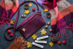 Fall concept. Flat lay, top view. Autumn frame with accessories, yellow leaves and wooden calendar royalty free stock photos