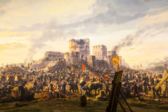 Fall of Constantinople in 1453. ISTANBUL, TURKEY - 6 JUNE , 2016:Fall of Constantinople in 1453. Captured by Mehmet. Panorama Museum 1453, Istanbul, Turke stock photo