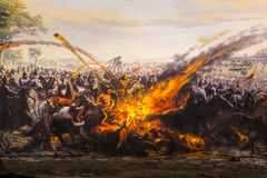 Fall of Constantinople in 1453. ISTANBUL, TURKEY - 6 JUNE , 2016:Fall of Constantinople in 1453. Captured by Mehmet. Panorama Museum 1453, Istanbul, Turke Royalty Free Stock Photos