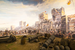 Fall of Constantinople in 1453. ISTANBUL, TURKEY - 6 JUNE , 2016:Fall of Constantinople in 1453. Captured by Mehmet. Panorama Museum 1453, Istanbul, Turke royalty free stock image