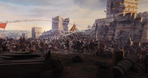 Fall of Constantinople in 1453 stock footage
