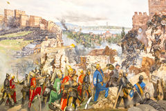 Fall of Constantinople. ISTANBUL, TURKEY - OCTOBER 14, 2015:Fall of Constantinople in 1453. Captured by Mehmet. Panorama Museum Military, Istanbul, Turke Stock Image