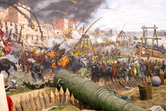 Fall of Constantinople. ISTANBUL, TURKEY - OCTOBER 14, 2015:Fall of Constantinople in 1453. Captured by Mehmet. Panorama Museum Military, Istanbul, Turke royalty free stock photography